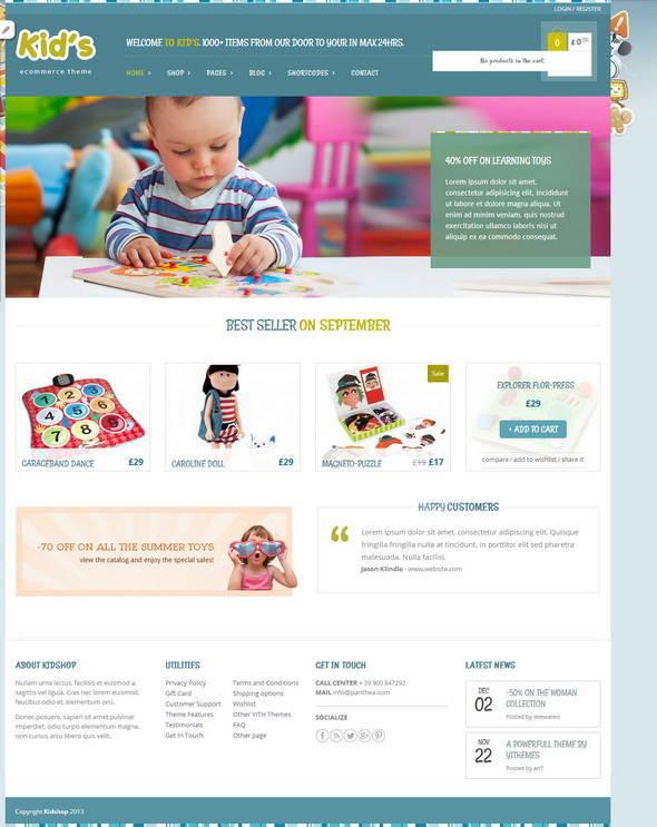 Kid Shop - Theme WordPress shop đồ trẻ em miễn phí